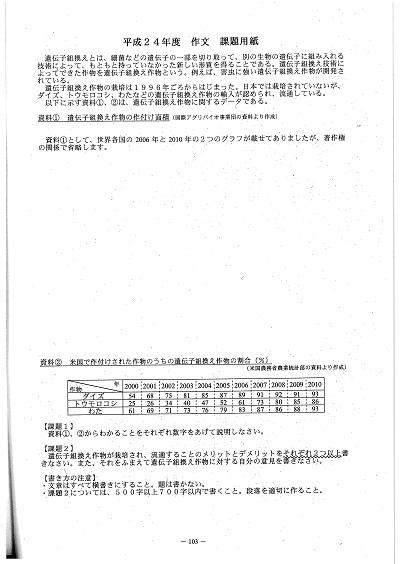 2012年度、名古屋大学教育学部附属高校 作文